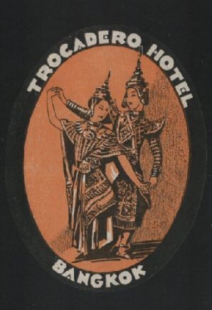 Hotel label luggage labels Siam old Thailand  #544